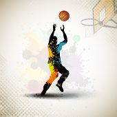 Illustration of a basketball player practicing with ball at court on colorful shiny abstract grungy
