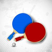 Two table tennis rackets or ping pong rackets and ball on grungy dotted background in grey color. EPS 10.