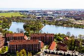 picture of copenhagen  - Aerial View on Roofs and Canals of Copenhagen Denmark - JPG