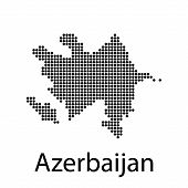 Pixel Map Of Azerbaijan. Vector Dotted Map Of Azerbaijan Isolated On White Background. Azerbaijan Ma poster