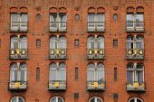Detail of facade of Copenhagen Palace Hotel in Copenhagen, Denmark.
