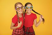 Kids Fashionable Friends Posing In Sunglasses On Yellow Background. Summer Fashion Trend. Summer Fun poster