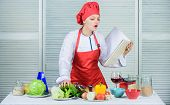Helpful Culinary Book. Woman Chef Cooking Food. Culinary Concept. Amateur Cook Read Book Recipes. Gi poster