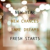 New Year New Me, New Chances, Same Dreams, Fresh Start, Positive Quotation On Blur Abstract Backgrou poster