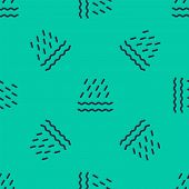 Blue Line Rain And Waves Icon Isolated Seamless Pattern On Green Background. Rain Cloud Precipitatio poster