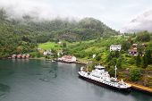 FLAM - JULE 25: Beautiful bay of Sognefjord near wooded mountain on Jule 25, 2011 in Flam, Norway. N