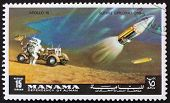 Postage stamp Manama 1972 Astronaut and Radar Antenna, Apollo 15