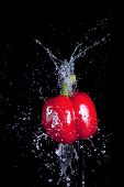 Pepper And Splaching Water.