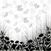 Background, flowers and butterflies silhouettes