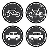 Bike and car retro label