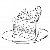 Cake, Piece Of Cake, Icon. Vector Illustration Of A Cake, Sweetness. Hand Drawn Cake. poster