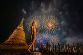 Beautiful Colorful Fireworks To Celebrate Thai Loykrathong Festival In Sukhothai Historical Park, Th poster