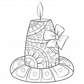 Adult Coloring Book,page A Christmas Candle With Ornaments Image For Relaxing.zen Art Style Illustra poster