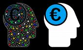 Glossy Mesh Euro Mind Icon With Lightspot Effect. Abstract Illuminated Model Of Euro Mind. Shiny Wir poster