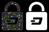 Glossy Mesh Dash Lock Icon With Glare Effect. Abstract Illuminated Model Of Dash Lock. Shiny Wire Ca poster
