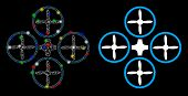 Flare Mesh Quadcopter Icon With Lightspot Effect. Abstract Illuminated Model Of Quadcopter. Shiny Wi poster