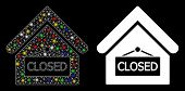 Flare Mesh Closed Office Icon With Glitter Effect. Abstract Illuminated Model Of Closed Office. Shin poster