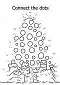 Connect The Dots Funny Winter Holidays Puzzle. Decorated Christmas Tree And Gifts Dot To Dot Printab poster