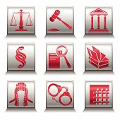 picture of law-books  - Vector icons with justice symbols in gray and red colors - JPG