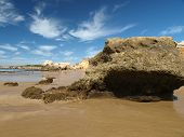 A section of the idyllic Praia de Rocha beach on the Algarve region.