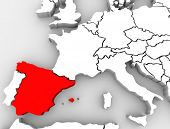 The country of Spain highlighted on an abstract 3D map of Europe
