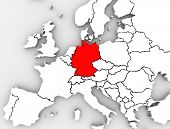 An abstract map of Europe with the country of Germany in red and other European countries in white