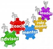 People marching on gears with the words Advisor, Coach, Mentor, Role Model and Leader to symbolize l