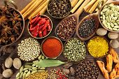 picture of copper  - Spices and herbs in metal bowls and wooden spoons - JPG