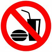 pic of ban  - No eating vector sign isolated on white background - JPG