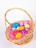 Easter basket wih colorful eggs