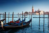 stock photo of gondola  - Gondolas on Grand Canal and San Giorgio Maggiore church in Venice - JPG