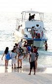 Holiday Makers Boarding Ship