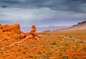 image of burro  - Rock formations and the road in the Valley of Fire in Nevada - JPG