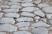Detail Of Ancient Appian Way (appia Antica) Original Roman Age Cobblestone, Consisting Of Big Slabs.