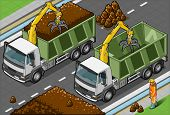 Isometric Containers Trucks With Arm