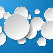 Abstract white paper circles on blue background. Vector eps10 illustration