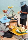Thai People Selling Traditional Food At Beach