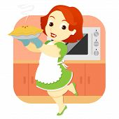 Woman In Kitchen Holding Pie