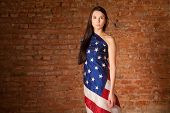 woman in the American flag