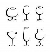 calligraphic wineglass