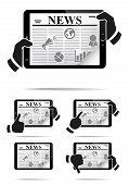 Mãos segurando o tablet pc com notícias.