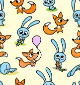 Happy Foxes And Bunnies On Seamless Pattern Background