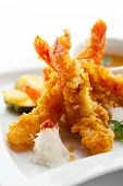 Japanese Cuisine - Tempura Shrimps (Deep Fried Shrimps) with Vegetables