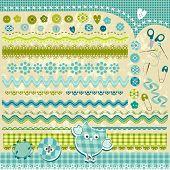 blue cute textured design elements