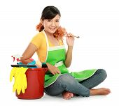 Woman With Cleaning Equipment