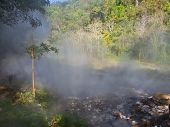 Mist From The Geyser Hot Spring In Huai Nam Dang National Park In Chiang Mai, Thailand