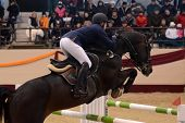 KAPOSVAR, HUNGARY - MARCH 24: Unidentified competitor jumps with his horse on the Masters Tournament