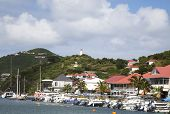 Waterfront at Gustavia Harbor at St Barths, French West Indies