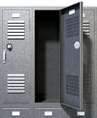 stock photo of combinations  - A perspective view of a stack of grey metal school lockers with combination locks and one with an open door on an isolated background - JPG