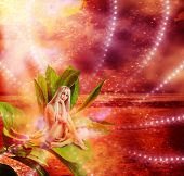 picture of pixie  - Beautiful sexy woman pixie sitting on a grean leaves in fantasy magic world - JPG